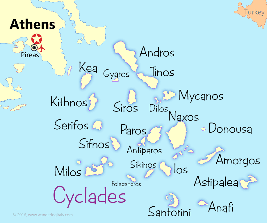 map of cyclades island group in Greece