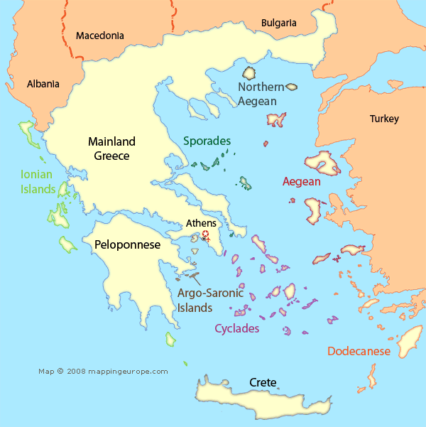 Map of Greece Showing Regions & Island Groups