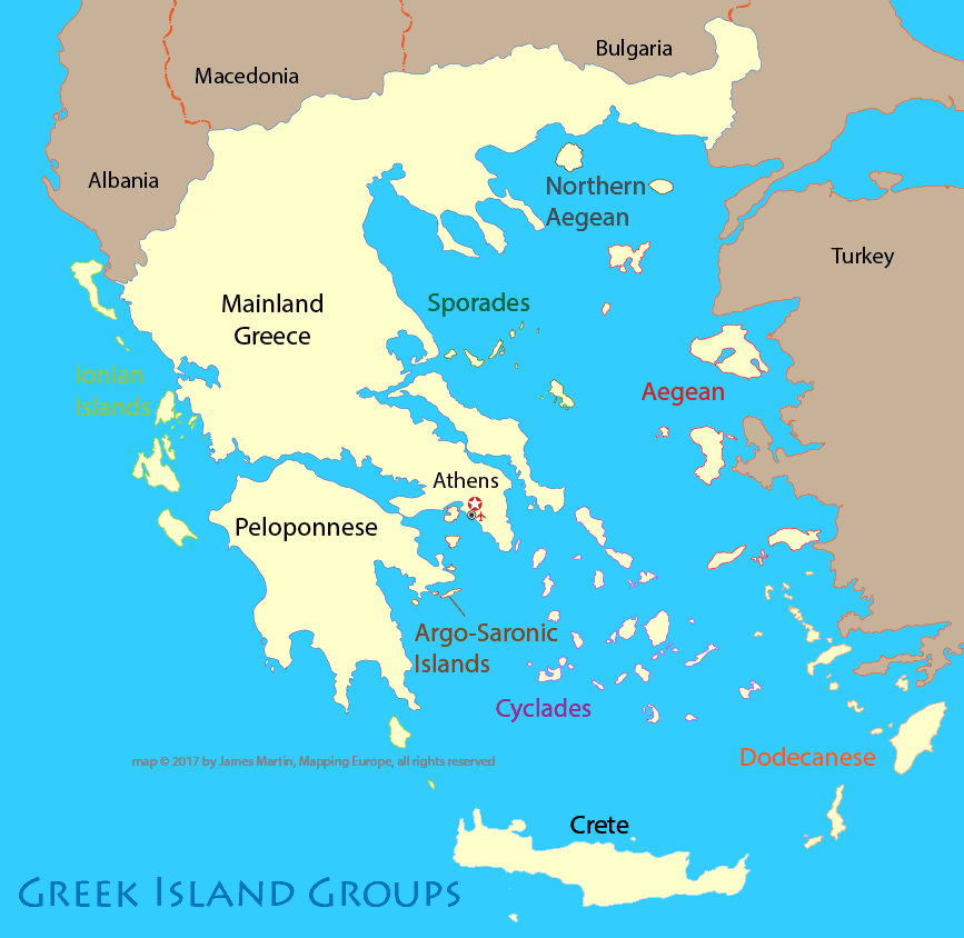 Map of Greece Island Groups Mapping Europe