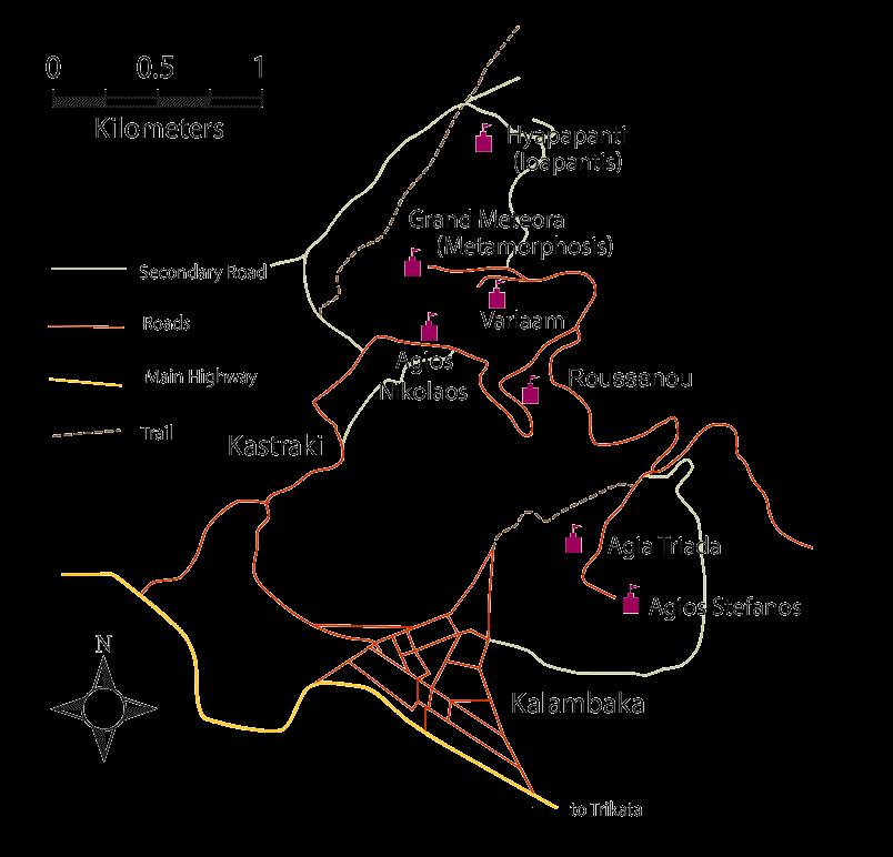Meteora Klöster Karte.Map Of Meteora Monasteries Greece Mapping Europe