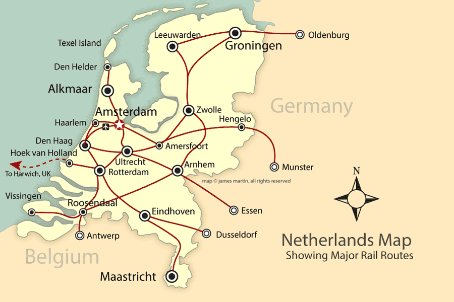 Map Of Germany And Holland.Rail And City Map Of The Netherlands Holland Mapping Europe