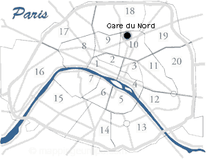 gare du nord location map