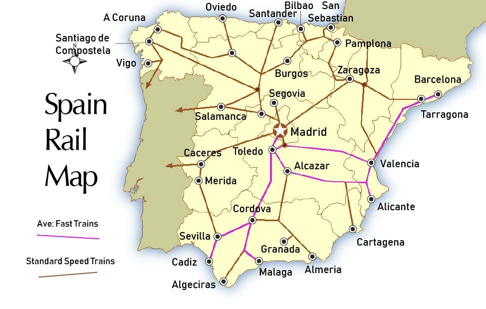 Barcelona In Spain Map.Barcelona Transportation Map Train And Bus Stations In Barcelona Spain