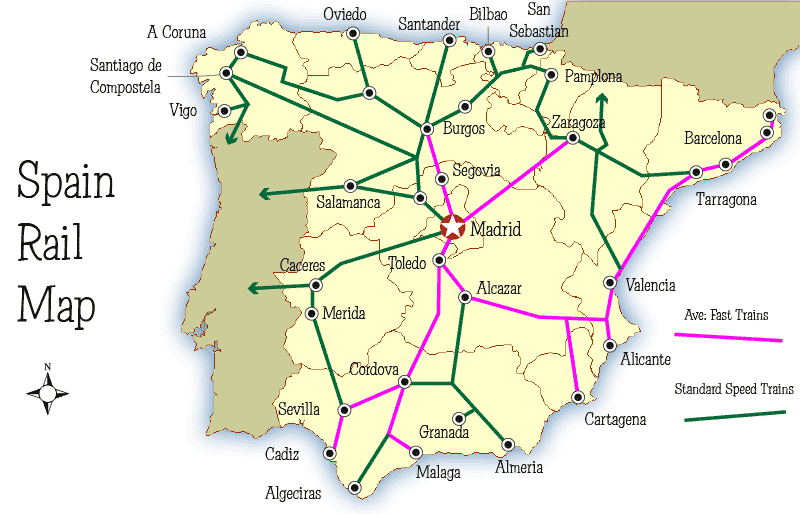 Spain Rail Map And Guide Mapping Europe